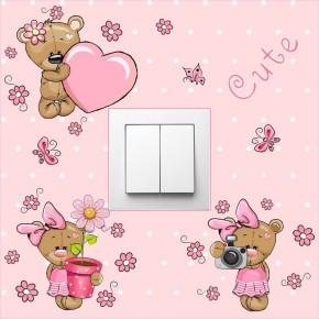 Pink kislány macis villanykapcsoló matrica
