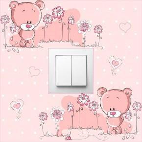 Rózsaszín macis villanykapcsoló matrica