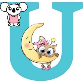 """U"" betű matrica, türkiz"