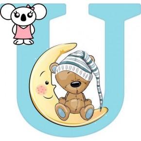 """""""U"""" betű matrica, világoskék"""