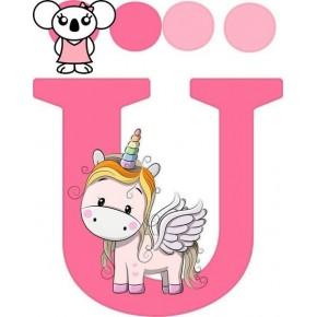 """Ü"" betű matrica, pink"