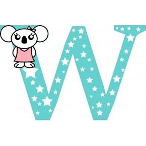"""W"" betű matrica, menta"