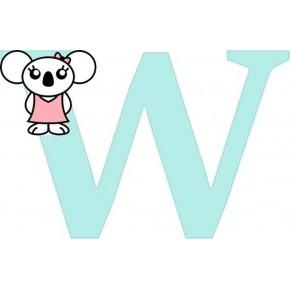 """W"" betű matrica, világos menta"
