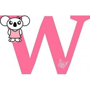 """W"" betű matrica, pink"