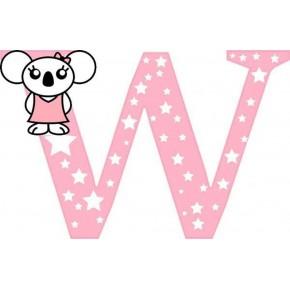 """W"" betű matrica, rózsaszín"
