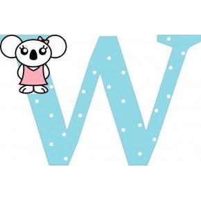 """W"" betű matrica, világoskék"