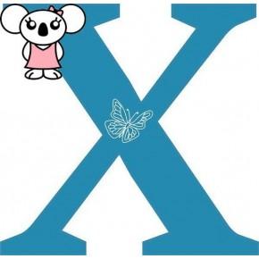 """X"" betű matrica, kék"