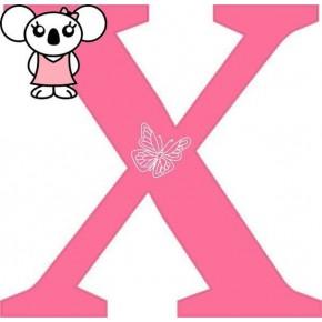 """X"" betű matrica, pink"