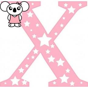 """X"" betű matrica, rózsaszín"
