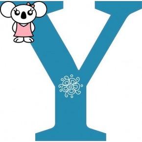 """""""Y"""" betű matrica, kék"""