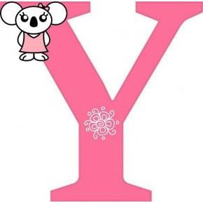 """Y"" betű matrica, pink"