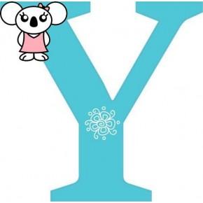 """Y"" betű matrica, türkiz"