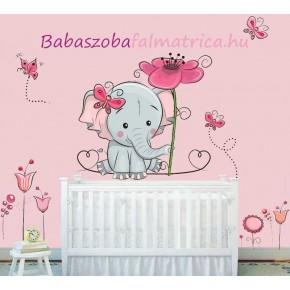 Elefánt virágokkal gyerek falmatrica