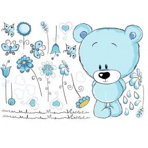 Maci virágokkal, kék baba falmatrica
