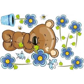 Maci kék virágokkal, kisfiú gyerek falmatrica