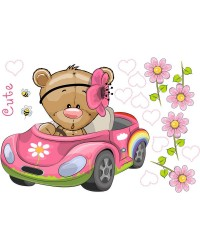 Teddy macis babaszoba falmatrica, autóban