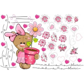 Maci virággal babaszoba falmatrica