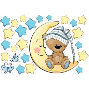 Maci holdon ül, kék csillagokkal gyerek falmatrica