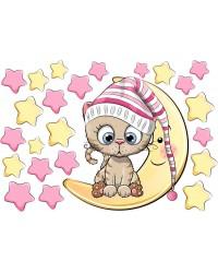 Cica hálósapkában csillagok közt gyerek falmatrica