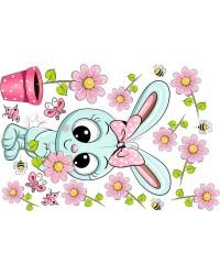 Nyuszis babaszoba falmatrica, menta, rózsaszín