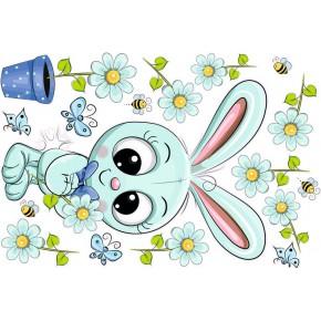 Nyuszis babaszoba falmatrica, menta, kék