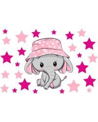 Elefánt csillagokkal falmatrica