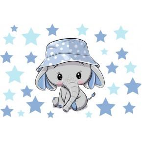 Elefánt sapkában, csillagokkal, fiú falmatrica