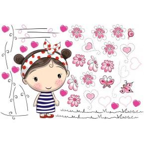 Kislány virágokkal falmatrica