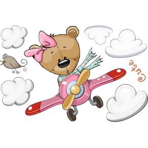Repülő maci lány babaszoba falmatrica