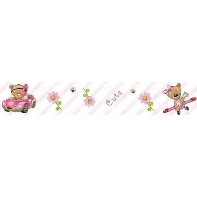 Autós, repülős macis bordűr, rózsaszín