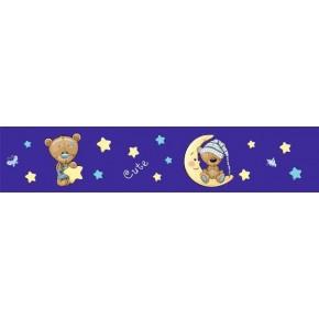 Sötétkék csillagos macis bordűr gyerekszobába