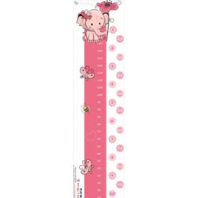 Rózsaszín elefántos magasságmérő falmatrica