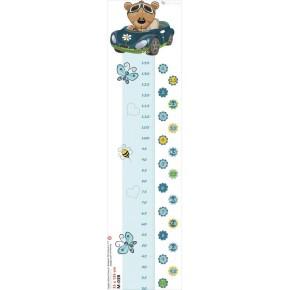 Kék autós maci magasságmérő falmatrica