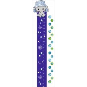 Elefánt fiú magasságmérő falmatrica, kék
