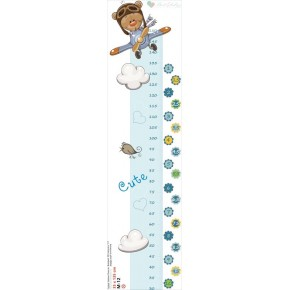 Repülős maci magasságmérő falmatrica