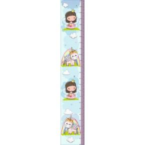 Egyszarvú, hercegnő magasságmérő falmatrica, 120 cm