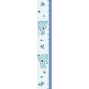 Kék macis magasságmérő falmatrica